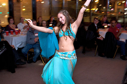 The belly dancer put on a heated performance that captivated the audience. (credit: Joshua Debner | Photo Staff)