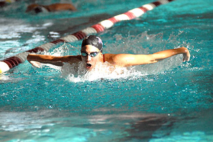 Sophomore Rebecca Ussai swims past competition in the 200-yard