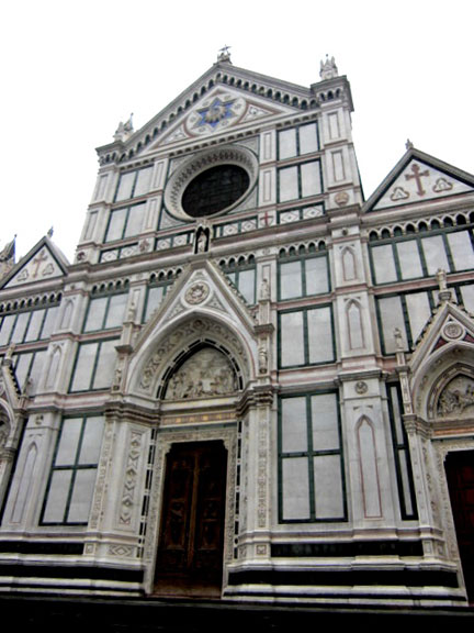 Pictured above is a façade of the Basilica di Santa Croce, the principle Franciscan church in Florence, Italy. (credit: Courtesy of Laura Thoren)