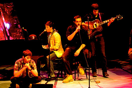 Pictured is a scene from Sophomore Boys Unplugged, which featured music played by eight sophomores. The played both popular and not-so-popular songs at Chosky Theater. (credit: Paul Menlibai | Photo Staff)