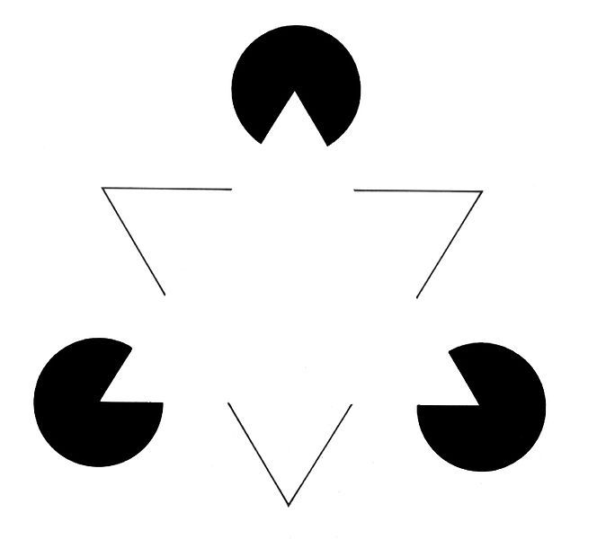 The top figure shows the Kanizsa's triangle, while the bottom one is an image depicting the lateral inhibition illusion.  (credit: Courtesy of (wikipedia.org)[http://www.wikipedia.org])