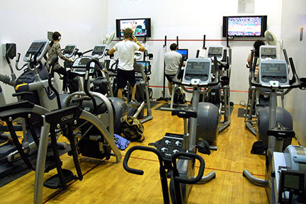 The cardio room on the second-floor of the University Center offers two flat-screen televisions for people while working out. (credit: Kristen Severson/Photo Editor)