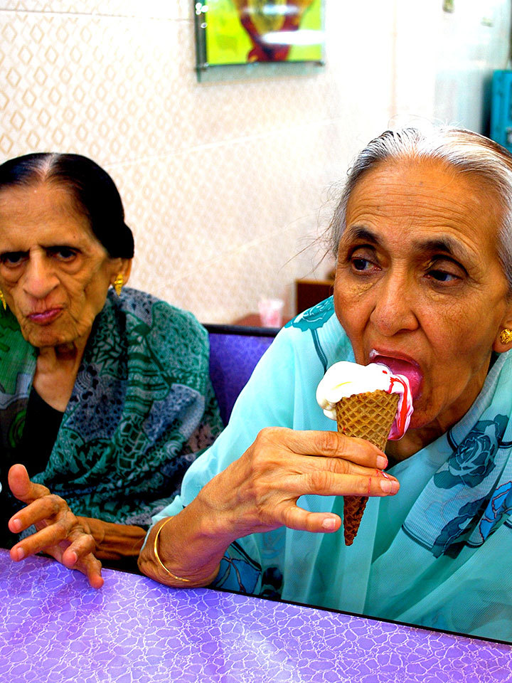 Poonawala's great-great aunt enjoys a stawberry-vanilla-swirl ice cream of the famous Karachi ice cream brand. 