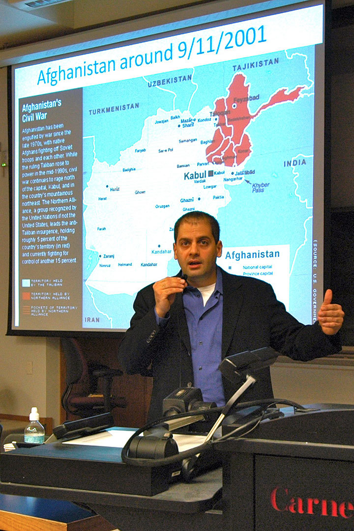 Professor Abdulkader Sinno discusses the political and cultural conflicts among Afghan people and explains history's role in the process. (credit: Celia Ludwinski/Photo Staff)