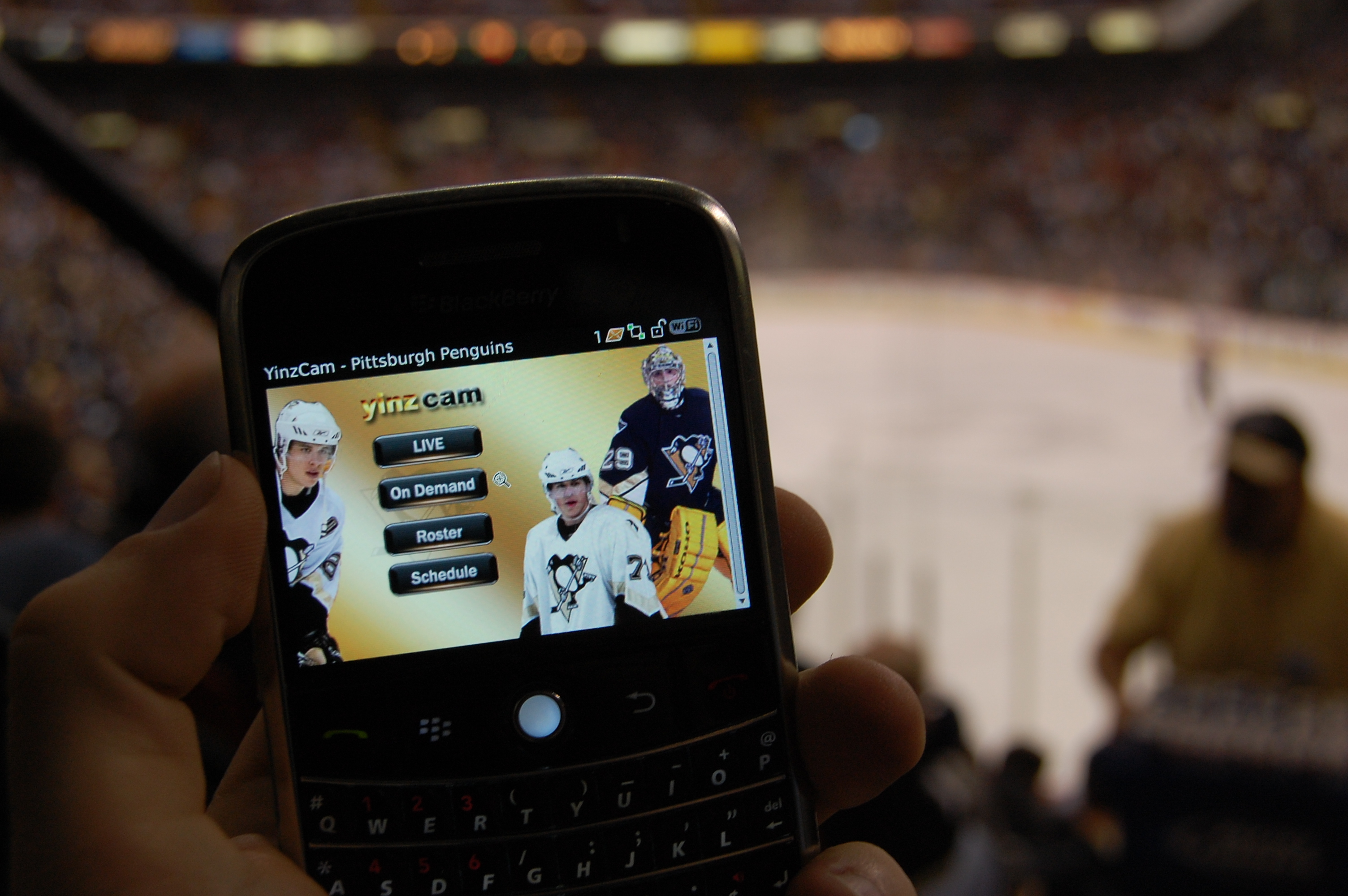 The Yinz Cam allows viewers a close up view of Penquins games at the Mellon Arena via their cell phones.   (credit: Courtesy of Priya Narasimhan)