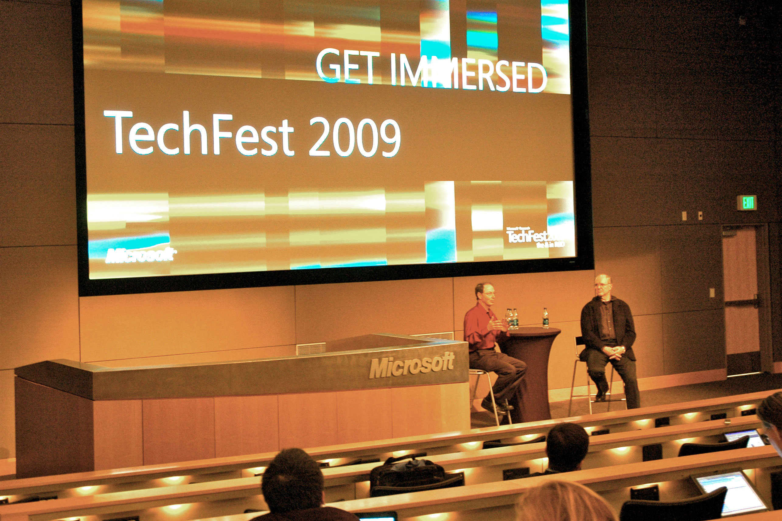 Rick Rashid (left) Senior Vice President of MSR, and Craig Mundie (right) Microsoft's Chief Research and Strategy Officer, speaking about new research at at TechFest 2009.