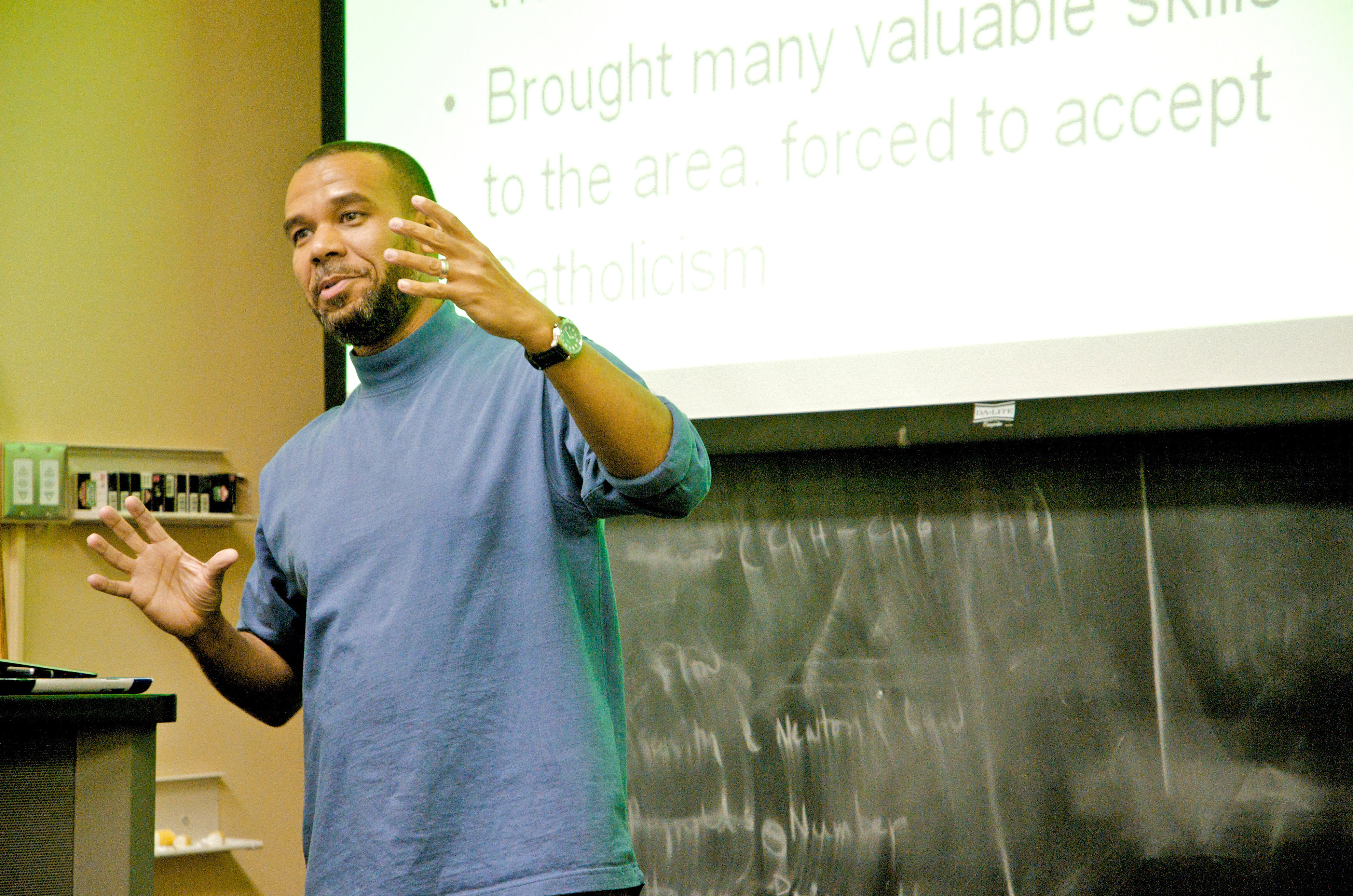 Arif Jamal of the University of Pittsburgh discussed the spread of Islam in Western Africa last week at an event to commemorate Black History Month. (credit: Kristin Severson/Photo Editor)