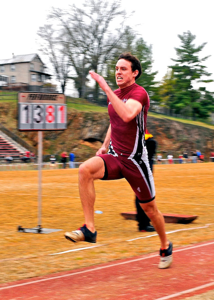 Senior Joel Palko placed 17th at the meet with a 11.35-meter triple jump. (credit: Courtesy of Chuck Steenburgh)