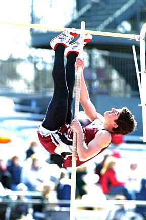 Sophomore Dan Melamed jumped for 3.96 meters to take fifth place. (credit: Courtesy of Martin Santek Photography)