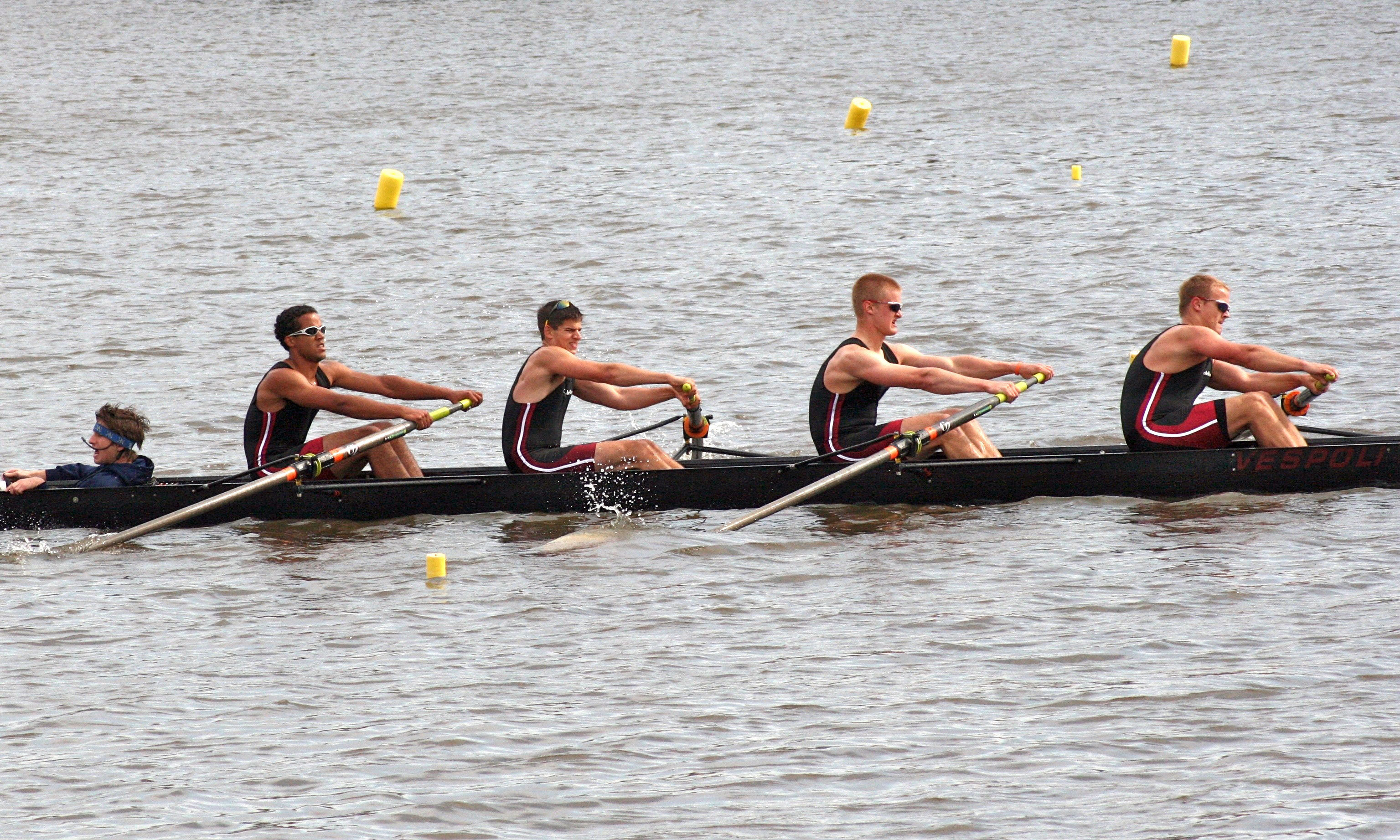 The novice men's 4+ rows along the Cooper River. (credit: Courtesy of Elizabeth Mahaffa)