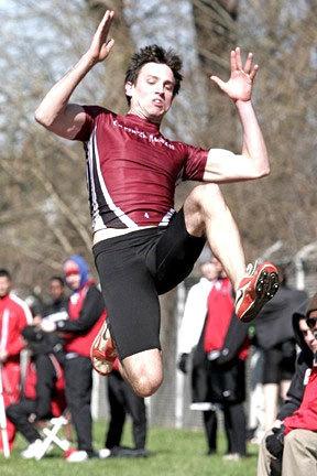 First-year Ryan Kissel, above at the W&J meet, won the long jump at Robert Morris Saturday. (credit: Courtesy of Martin Santek Photography)