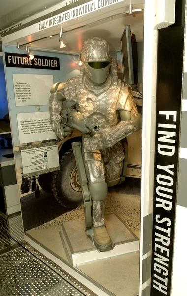 Shown in the picture is a prototype of a powered exoskeleton displayed by the US Army. (credit: Courtesy of www.wikipedia.org)