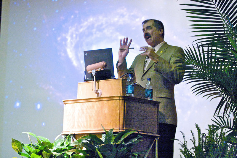 "Edward W. ""Rocky"" Kolb talks about dark matter and dark energy at this year's  Buhl Lecture. The Buhl lectures are held  annually at Carnegie Mellon University to introduce a science and non-science background audience to concepts in physics. This year's lecture was held on April 21."