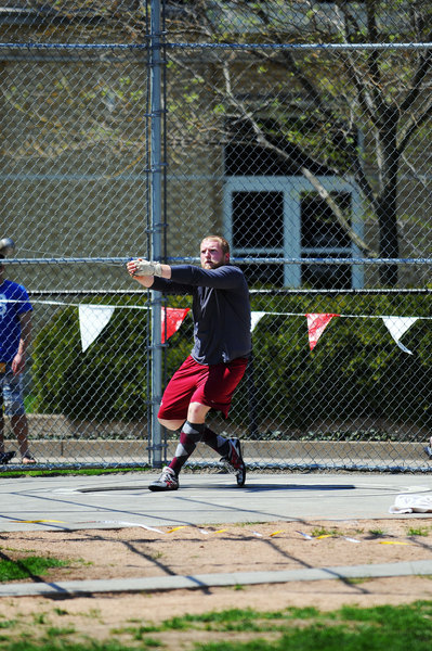Senior James Hulley took first place in the shot put with a distance of 15.62 meters. (credit: J.W. Ramp/Publisher)