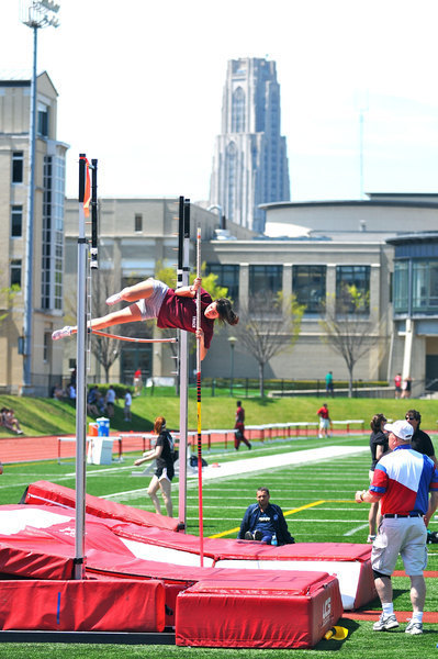 First-year Lisa Marion Garcia pole vaults 3.05 meters.  (credit: J.W. Ramp/Publisher)