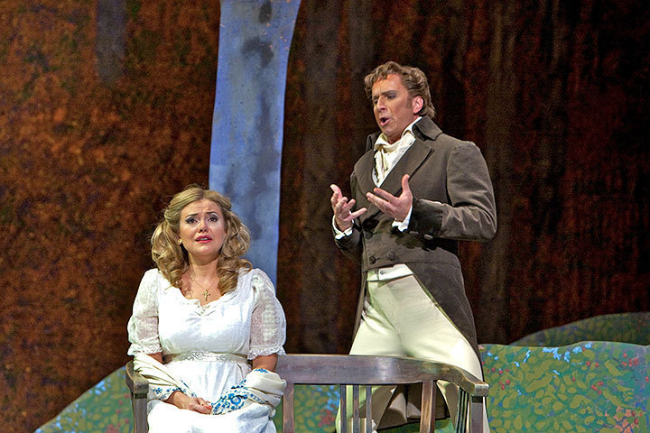 Onegin explains to an embarassed Tatiana that he cannot reciprocate her love. (credit: Courtesy of David Bachman)