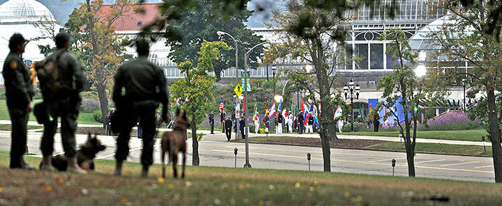 Security stood watch as the G20 dignitaries entered Phipps Conservatory. (credit: j.w. Ramp/Publisher)