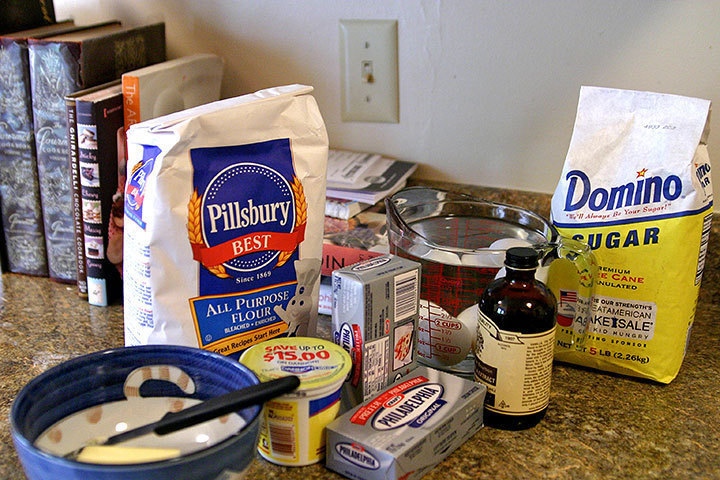 A collection of the ingredients needed for the cheesecake. (credit: Hannah Rosen | Photo Staff)
