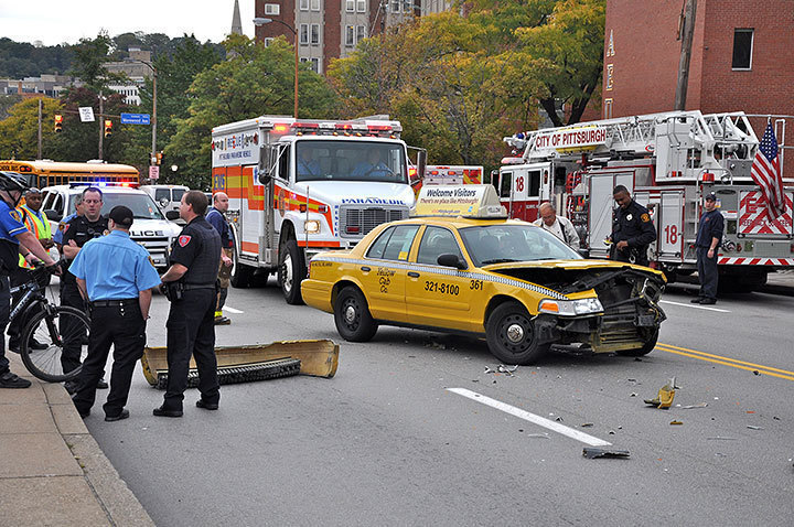 University Police block traffic as damages from the accident are cleared. (credit: J.W. Ramp)