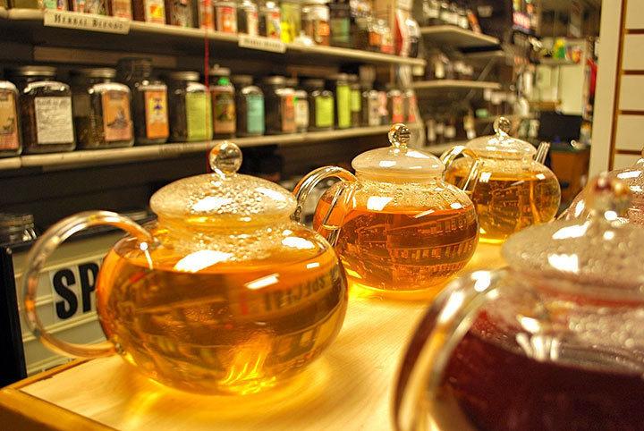 Glass teapots display the different varieties of tea.  (credit: Courtney Wittekind)