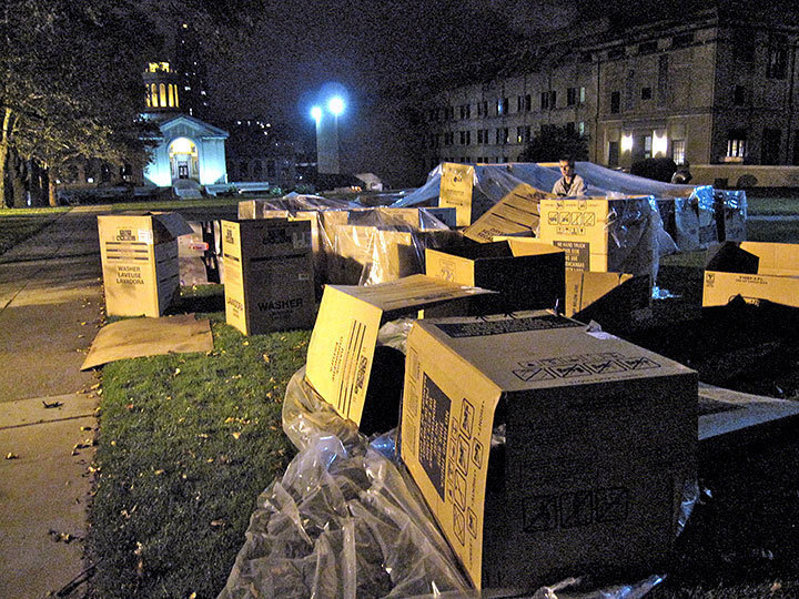 Pictured above are the cardboard boxes that participants slept in overnight on the CFA lawn. A one night experience on the lawn was supposed to represent a lifetime of homelessness on the streets of Pittsburgh. (credit: Jesse Kummer/Photo Staff)