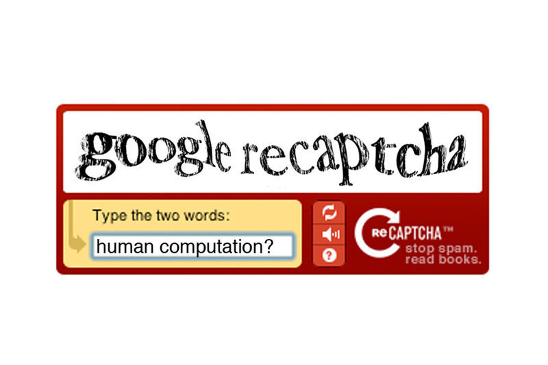 Pictured above is an example of what a reCAPTCHA looks like. Users must type in the correct words in order to continue their webbrowsing. (credit: Travis Wolfe/Photo Staff)