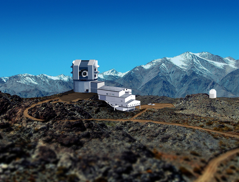 This is an artist's representation of the completed Large Synoptic Survey Telescope, when it will be fully operational in 2016. Telescopes like these will be used to gather large amounts of observational data that will be analyzed for patterns by computer algorithms. (credit: Courtesy of Michael Mullen Design / LSST Corporation)