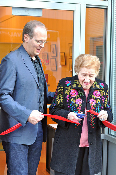 Cartoonist Rob Rogers and former Pittsburgh mayor Sophie Masloff cut the ribbon, signifying the opening of the new ToonSeum location. (credit: Michael Kahn | Copy Manager)