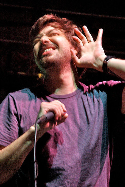 Ian Mathias Bavitz, also known as hip hop idol Aesop Rock, pumped up the crowd last Saturday. (credit: Courtney Wittekind | Assistant News Editor)