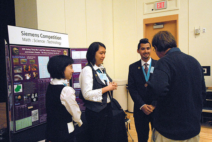 Students explain their research projects at the Siemens Competition hosted by Carnegie Mellon last weekend. The Siemens Competition has high school students from across the country undertaking research projects in the fields of science, math, and technology. (credit: Michael Kahn/Copy Manager)