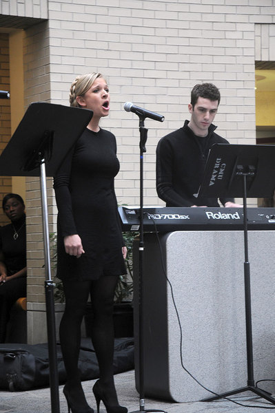 A student performs a vocal piece in honor of Dr. Martin Luther King, Jr. at the celebrations on Monday.  (credit: Celia Ludwinski)