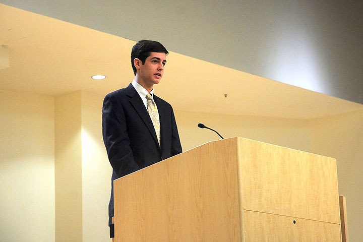 A local high school students discusses his experiences regarding racial discrimination and differences.  (credit: Celia Ludwinski)