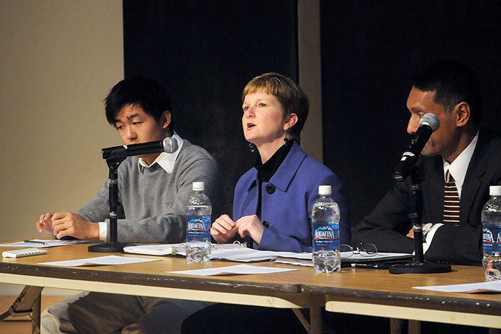 Pictured are Janel Sutkus, Director of Educational Research; and Eric Wu, Sophomore, SCS (right to left). (credit: Celia Ludwinski)