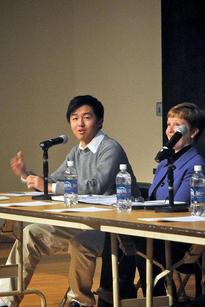 Pictured is panel member Eric Wu, Sophomore, SCS. (credit: Celia Ludwinski)