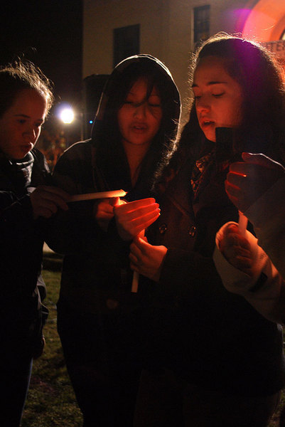 Students gathered to pay tribute to the victims of the Haitian earthquake. (credit: Courtney Wittekind/News Editor)