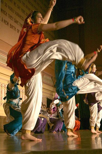 Dancers don salwar kameez, traditional dresses worn by female bhangra performers.     (credit: Celia Ludwinski)