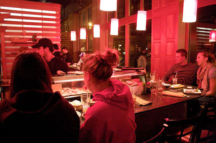 The sushi bar is the perfect place to enjoy an intimate dinner with your significant other or to grab a couple of drinks with your friends and floormates.  (credit: Travis Wolfe)