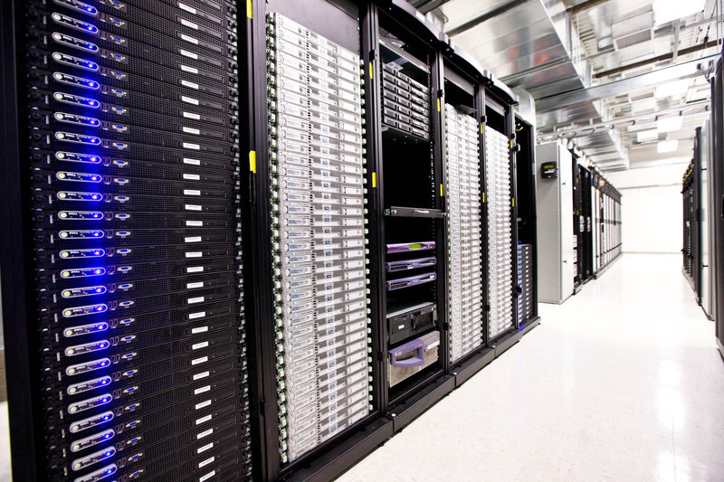 Cloud computing simplifies computing projects by having certain services provided on the Internet. Data can be stored over the Internet in servers like these. (credit: Courtesy of Wikimedia Commons)