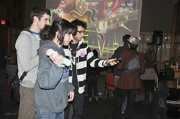 Students enjoy new video game demos provided by the Entertainment Technology Center, one of the various attractions of the wats:ON? festival.  (credit: Michael Kahn)