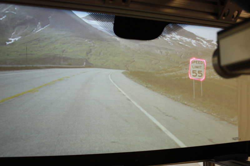 Besides scanning road outlines, the windshield can read certain signs, such as posted speed limits, and alert drivers when they are traveling too fast. (credit: Courtesy of GM)