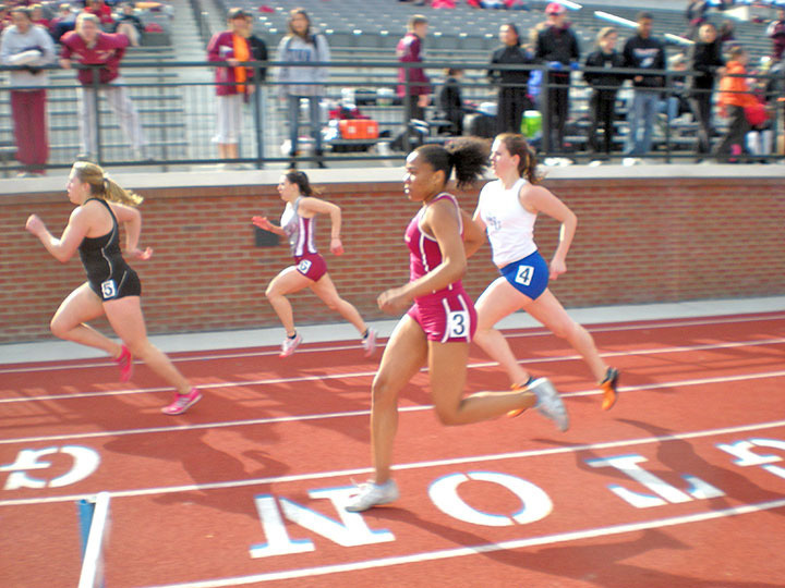 Senior Crystal LeePow, number three, ran in the 400-meter hurdles. (credit: Courtesy of Laura McKee)