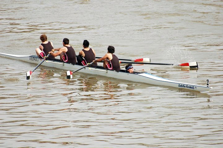 The men's novice-four team rows down the Muskingum River. The Tartans took first in the 2000-meter race. (credit: Courtesy of Russell Kirmayer  )