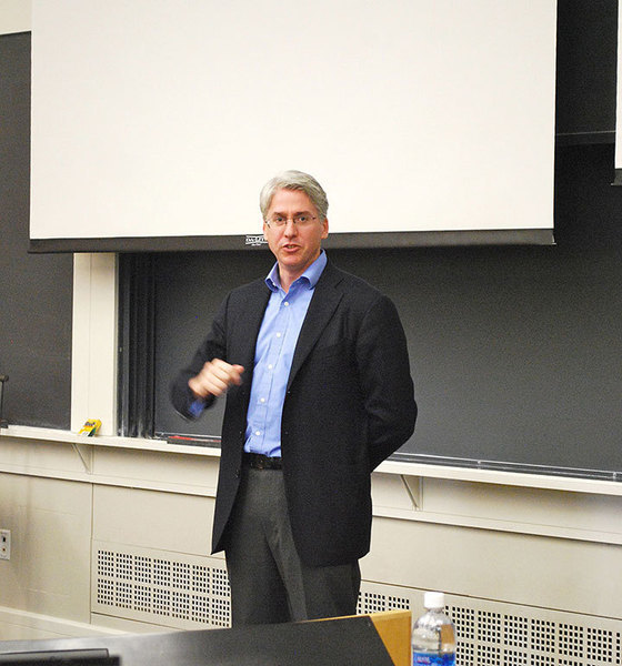 Global entrepreneur and writer of Starting From Scrap, Stephen Greer lectures to students in Carnegie Mellon's Entrepreneurship Club. (credit: Courtney Wittekind/News Editor)