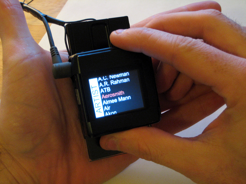 By moving or turning the device, users can navigate through Minput menu screens without the need of a touchscreen. (credit: Courtesy of Chris Harrison)