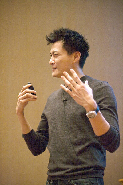 Jorge Cham, the author of PhD comics, speaks at the kickoff event for the NAGPS Northeast Regional Conference. (credit: Patrick Gage Kelley/Contributing Editor)