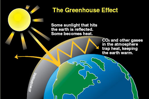 The greenhouse effect is caused by sunlight that enters the Earth's atmosphere, creating heat. Some sunlight reflects off the Earth into space, while some is trapped by the atmosphere due to gases like carbon dioxide. (credit: National Oceanic and Atmospheric Administration)