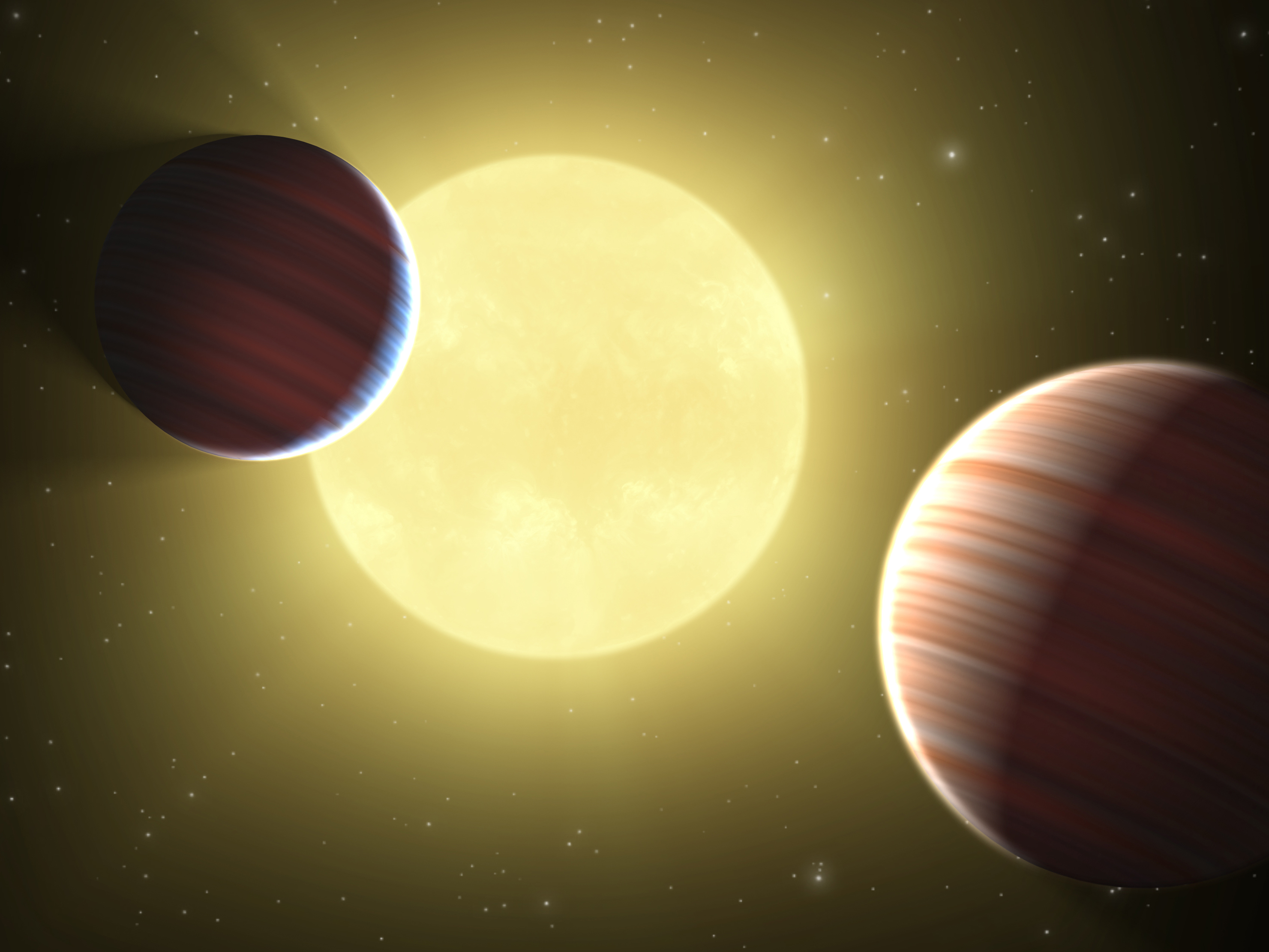 An artist's rendering of the star system containing the new planet. (credit: Courtesy of NASA)