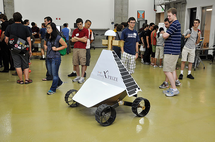 The Robotics Institute shows a prototype of its Lunar X Prize robot. (credit: Michael Kahn/Forum Editor )