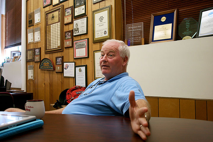 Coach Rich Lackner has been with Carnegie Mellon for the past 35 years. He has won the University Athletic Association Coach of the Year award five times, small rewards compared to his improvements to the football program and his impressive record. (credit: Celia Ludwinski/Photo Editor)