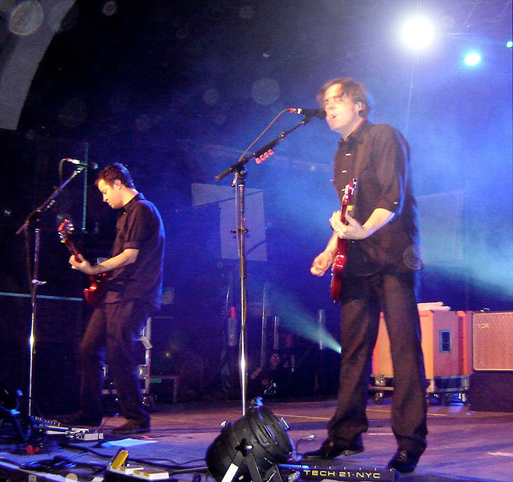 Jim Adkins and Tom Linton of Jimmy Eat World play at Schlachthof in Wiesbaden, Germany in 2008. (credit: Courtesy of Wikimedia Commons)